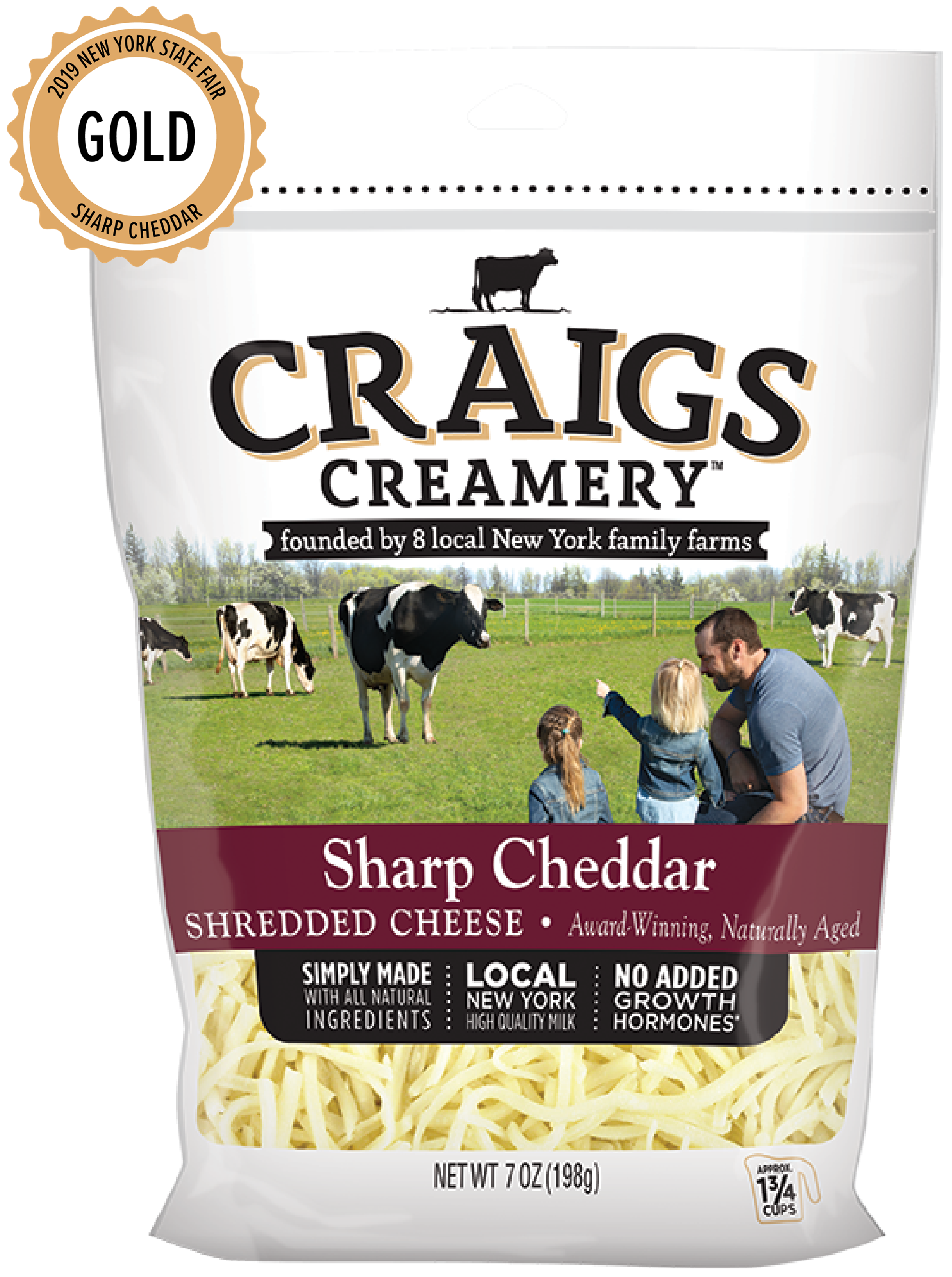 Aerial shot of cows grazing at one of Craigs Creamery local New York family farms overlayed with packaging for our farm-fresh Sharp Cheddar Shreds
