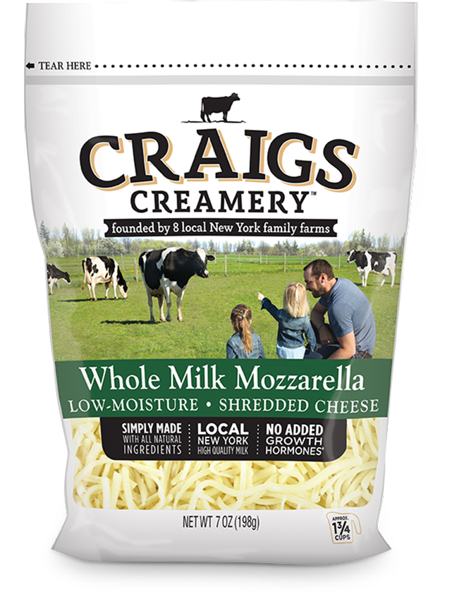 Aerial shot of cows grazing at one of Craigs Creamery local New York family farms overlayed with packaging for our farm-fresh Whole Milk Mozzarella Shreds