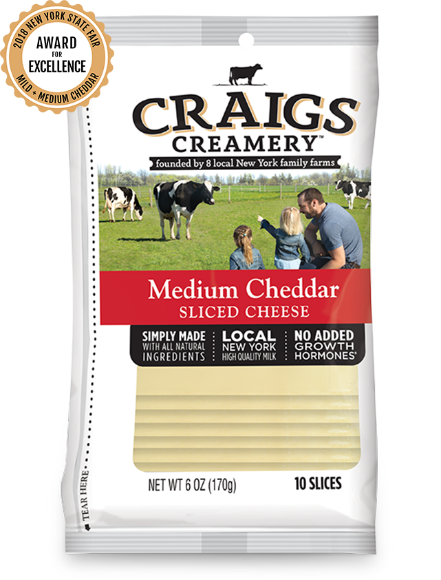 Aerial shot of cows grazing at one of Craigs Creamery local New York family farms overlayed with packaging for our farm-fresh Medium Cheddar Slices