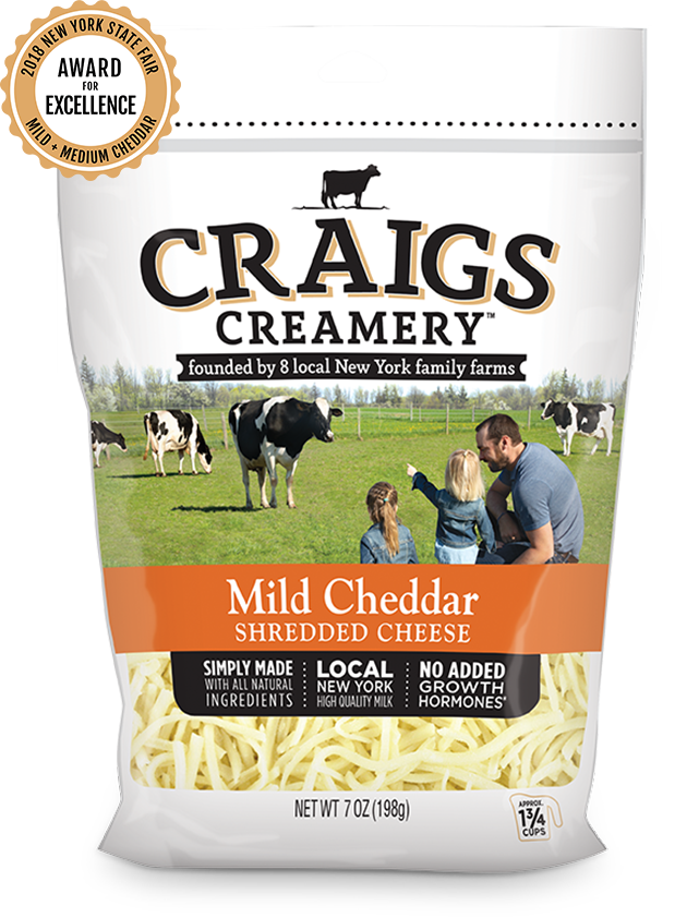 Aerial shot of cows grazing at one of Craigs Creamery local New York family farms overlayed with packaging for our farm-fresh Mild Cheddar Shreds