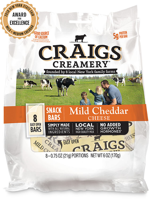 Aerial shot of cows grazing at one of Craigs Creamery local New York family farms overlayed with packaging for our farm-fresh Mild Cheddar Snack Bars