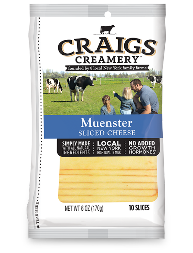 Aerial shot of cows grazing at one of Craigs Creamery local New York family farms overlayed with packaging for our farm-fresh Muenster Slices