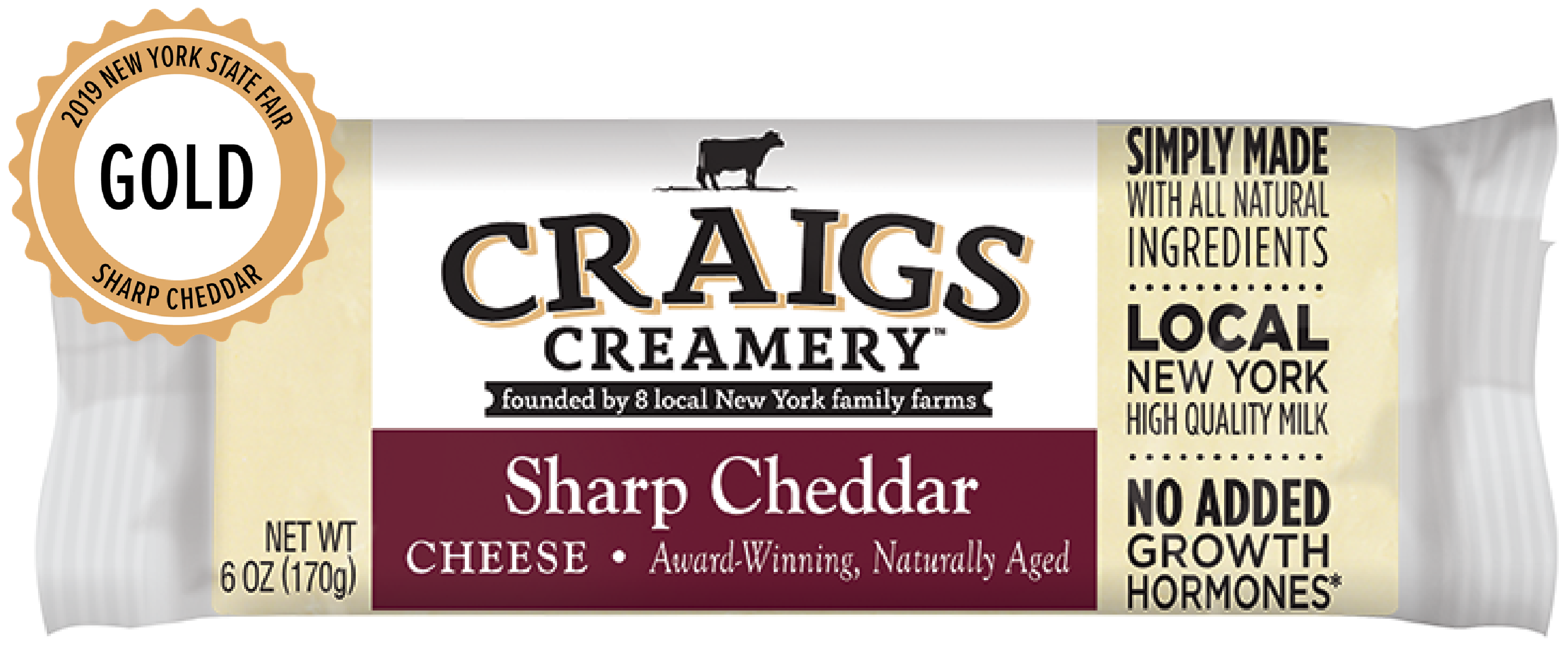 Aerial shot of cows grazing at one of Craigs Creamery local New York family farms overlayed with packaging for our farm-fresh Sharp Cheddar Chunk