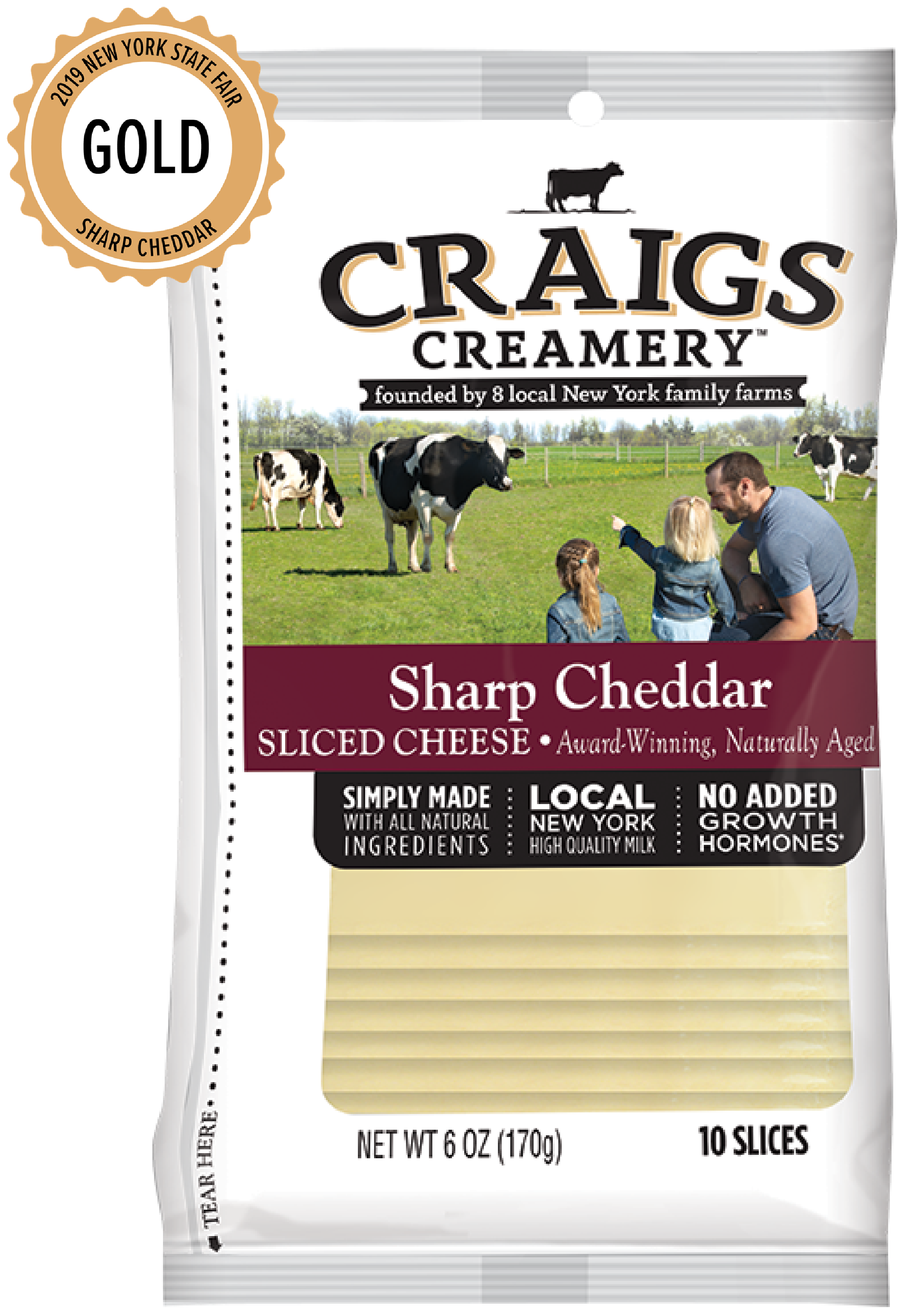 Aerial shot of cows grazing at one of Craigs Creamery local New York family farms overlayed with packaging for our farm-fresh Sharp Cheddar Slices