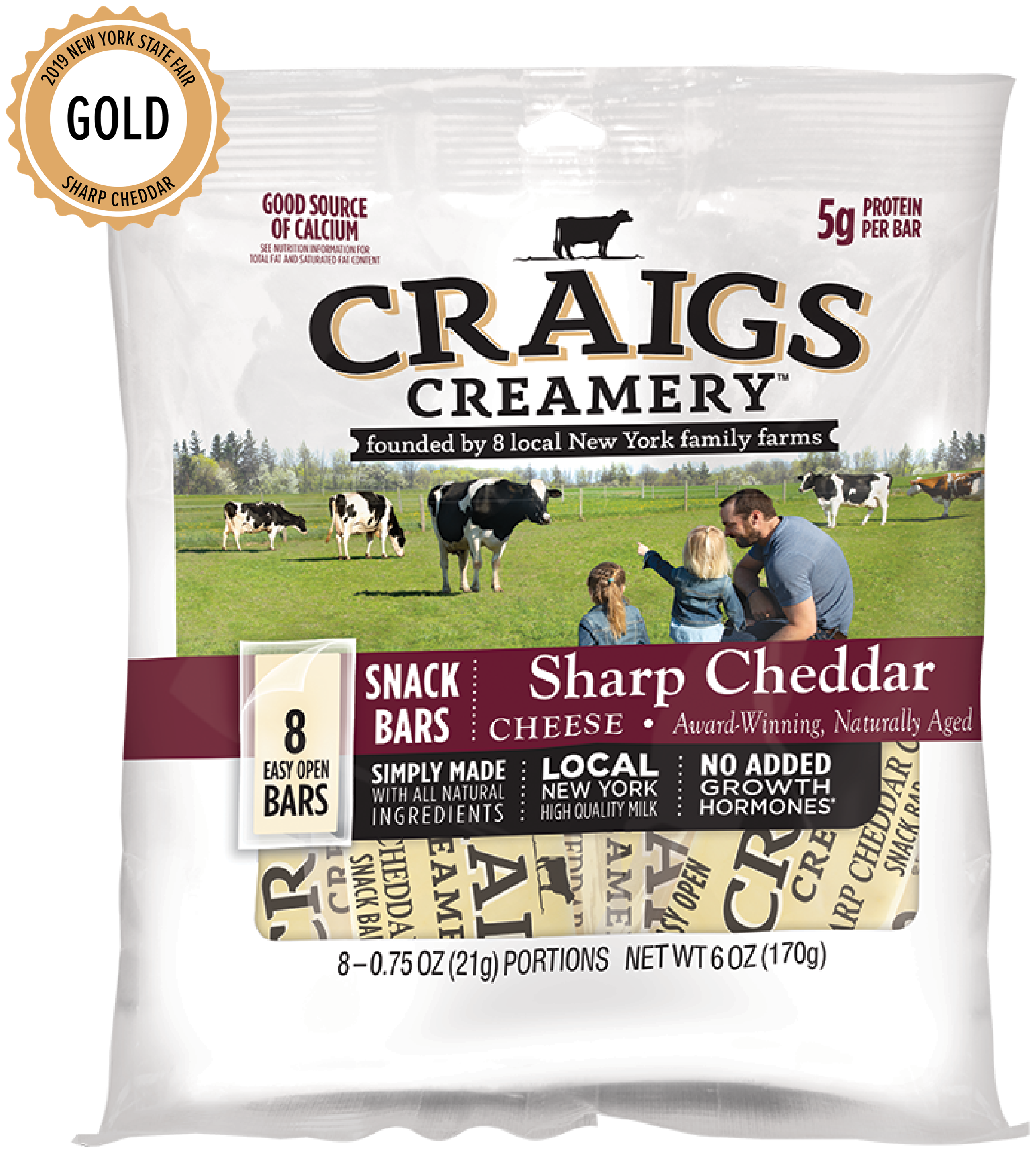 Aerial shot of cows grazing at one of Craigs Creamery local New York family farms overlayed with packaging for our farm-fresh Sharp Cheddar Snack Bars