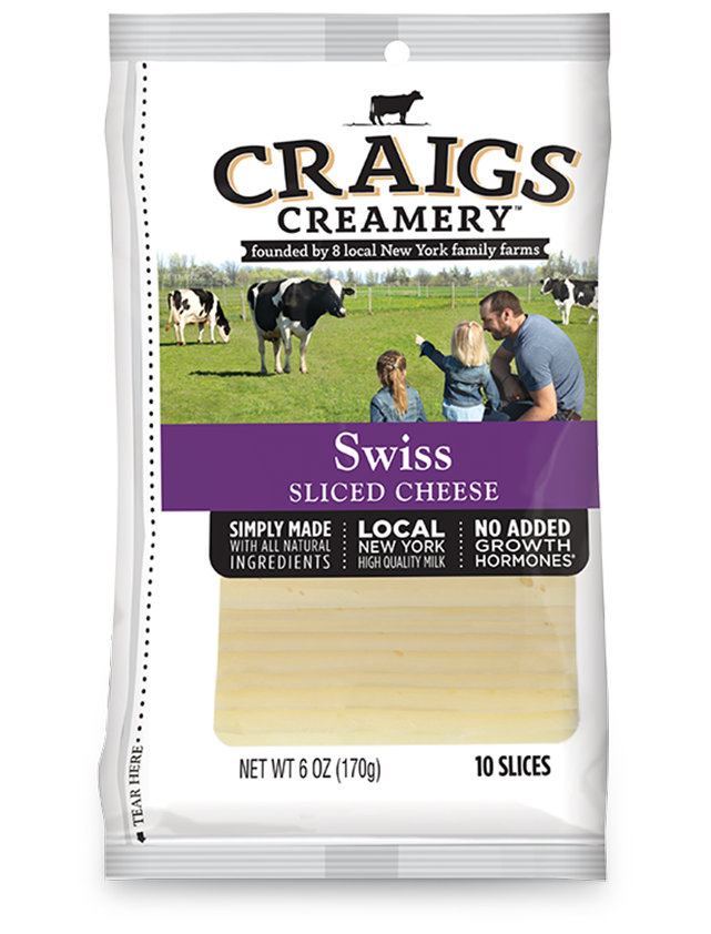 Aerial shot of cows grazing at one of Craigs Creamery local New York family farms overlayed with packaging for our farm-fresh Swiss Slices